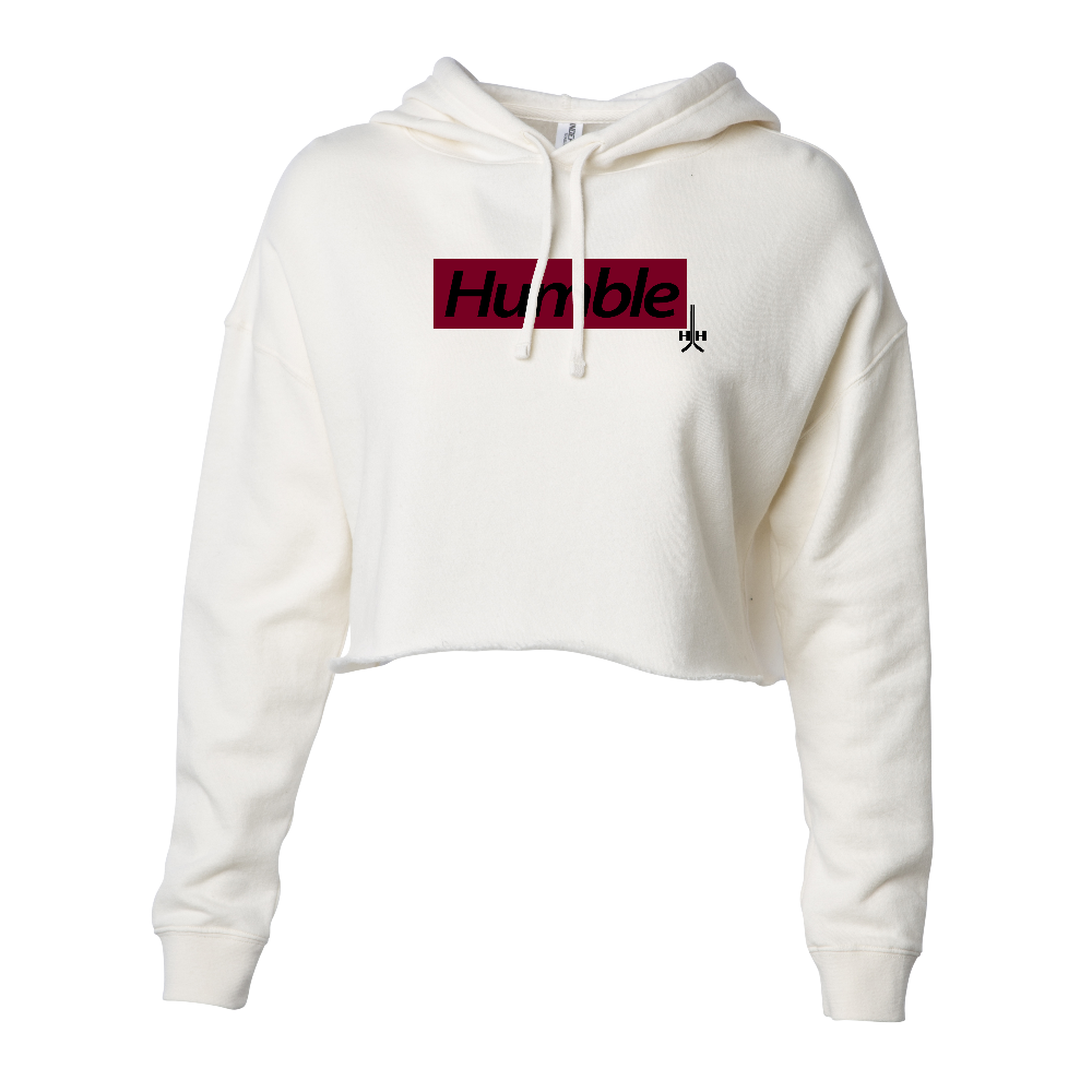 Bone white red design black text letters hooded crop hoodie cotton polyester blend