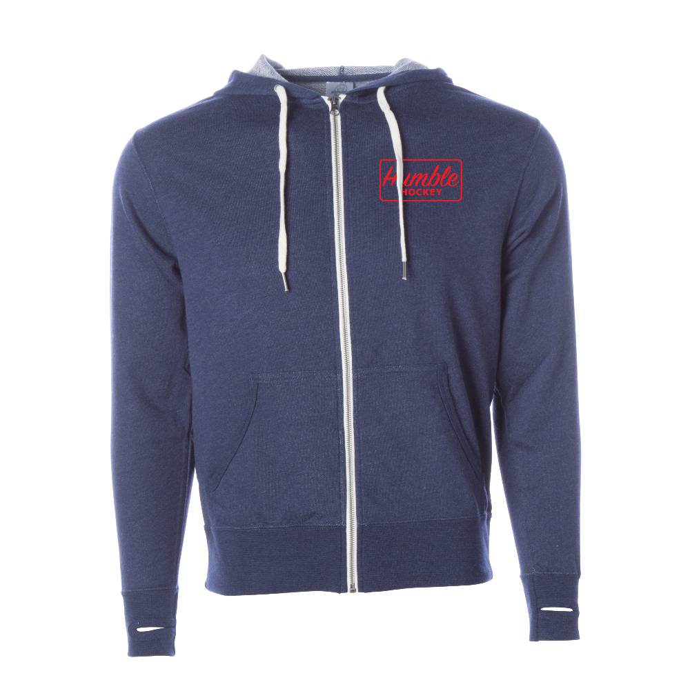 Navy blue french terry polyester cotton blend zip-up hooded sweatshirt thumb holes red design