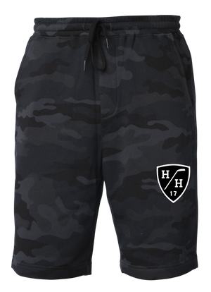 Black camouflage, black design, white design, sweat short with drawstring, cotton blend taper fit.