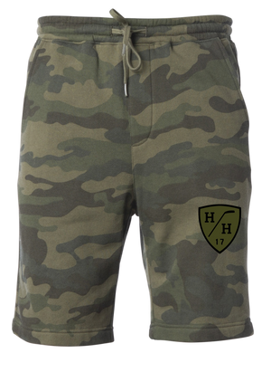 Green woodland camouflage, black design, olive green design, sweat short with drawstring, cotton blend taper fit.