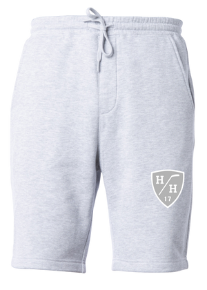 Light grey heathered gray design, white design, sweat short with drawstring, cotton blend taper fit.