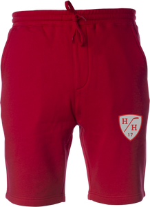 Red, red design, gray design, sweat short with drawstring, cotton blend taper fit.