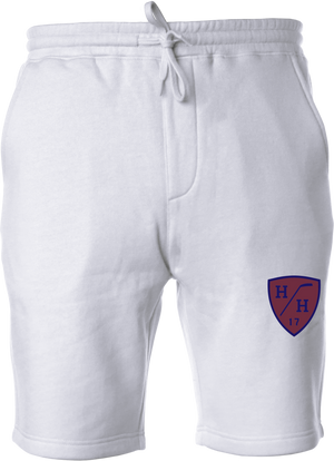 White, navy blue design, burgundy design, sweat short with drawstring, cotton blend taper fit.