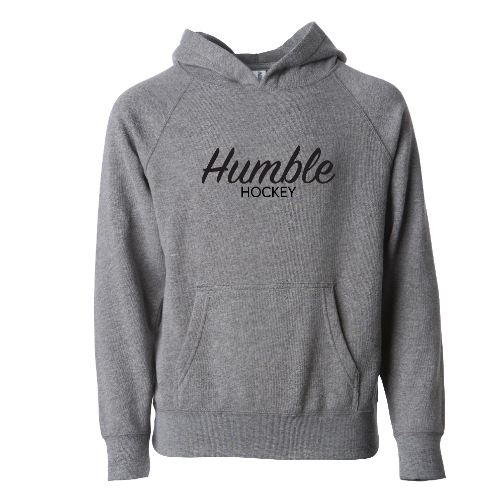 Heathered gray hooded sweatshirt youth sizes black design script text soft raglan pocket
