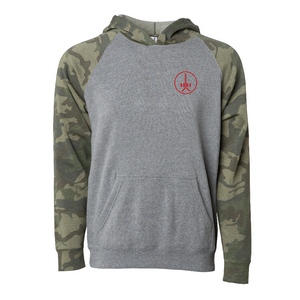 Heathered gray green camo woodland camouflage sleeves hooded sweatshirt youth sizes red design soft raglan pocket