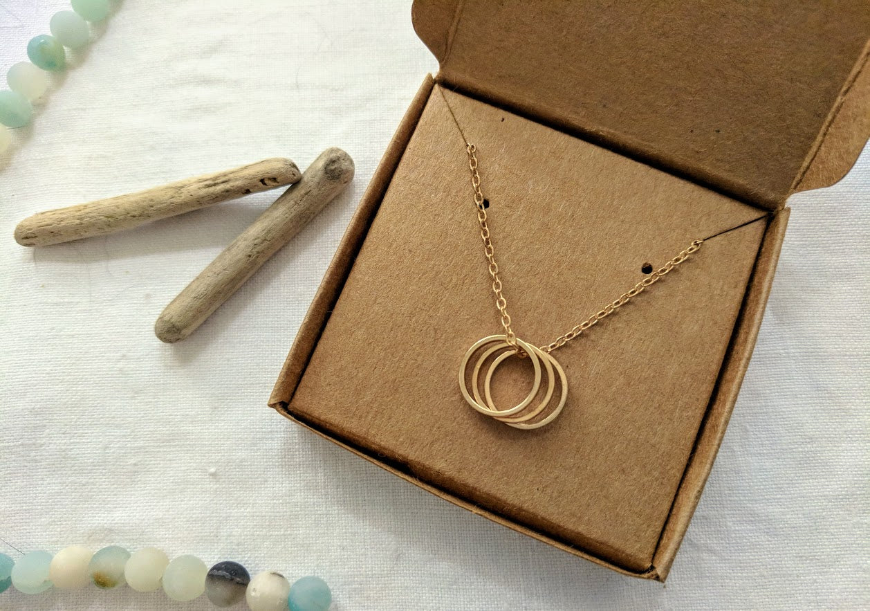 Three Ring Necklace | Triple Ring Necklace | Three Circle Necklace | Three Ring Pendant