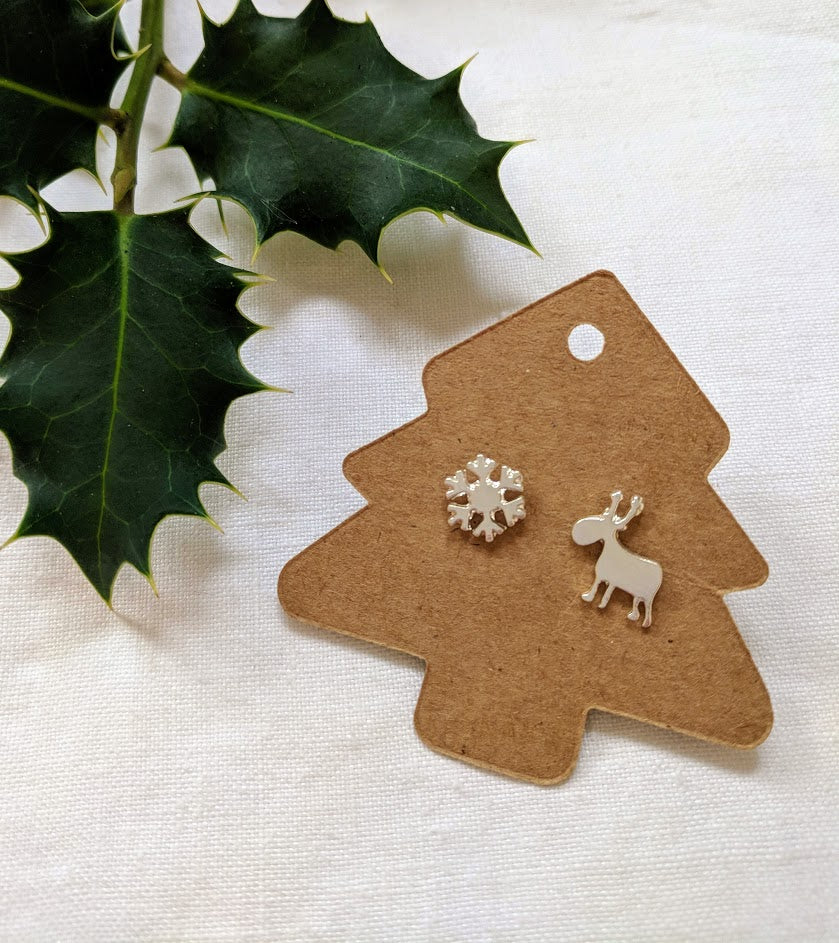 Christmas Earrings | snow flake and reindeer earrings