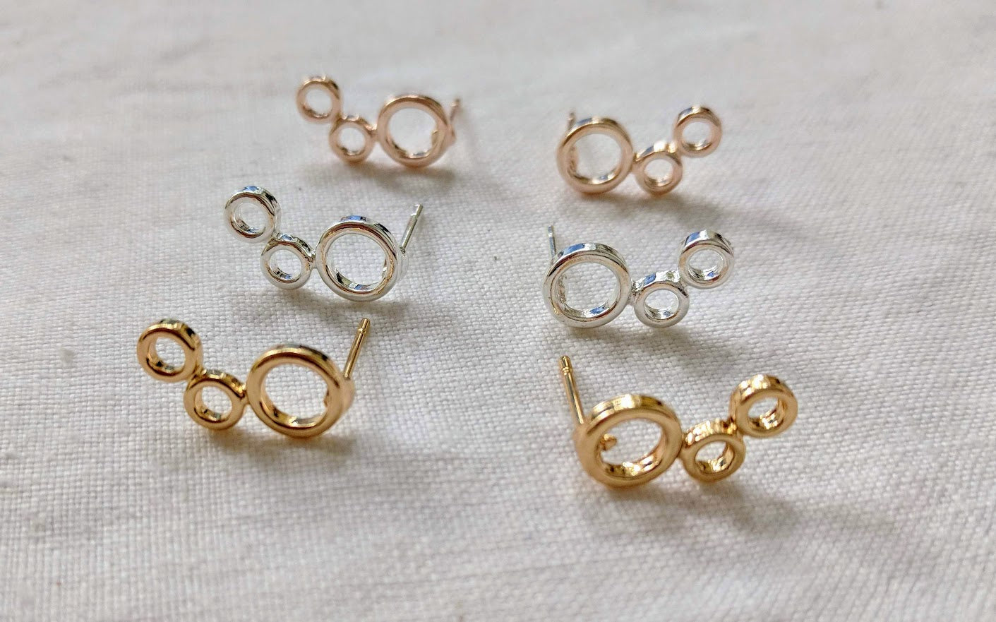 Climber studs | Circle climbers earrings | Silver, Gold or Rose Gold Climbing studs