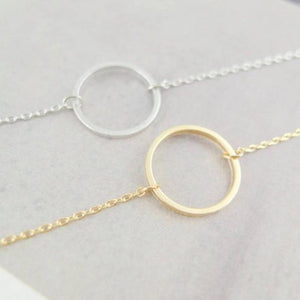 Disk Necklace | Karma double chain circle necklace | Circle Necklace | Gold Necklace | Silver Necklace | Gift | Karma