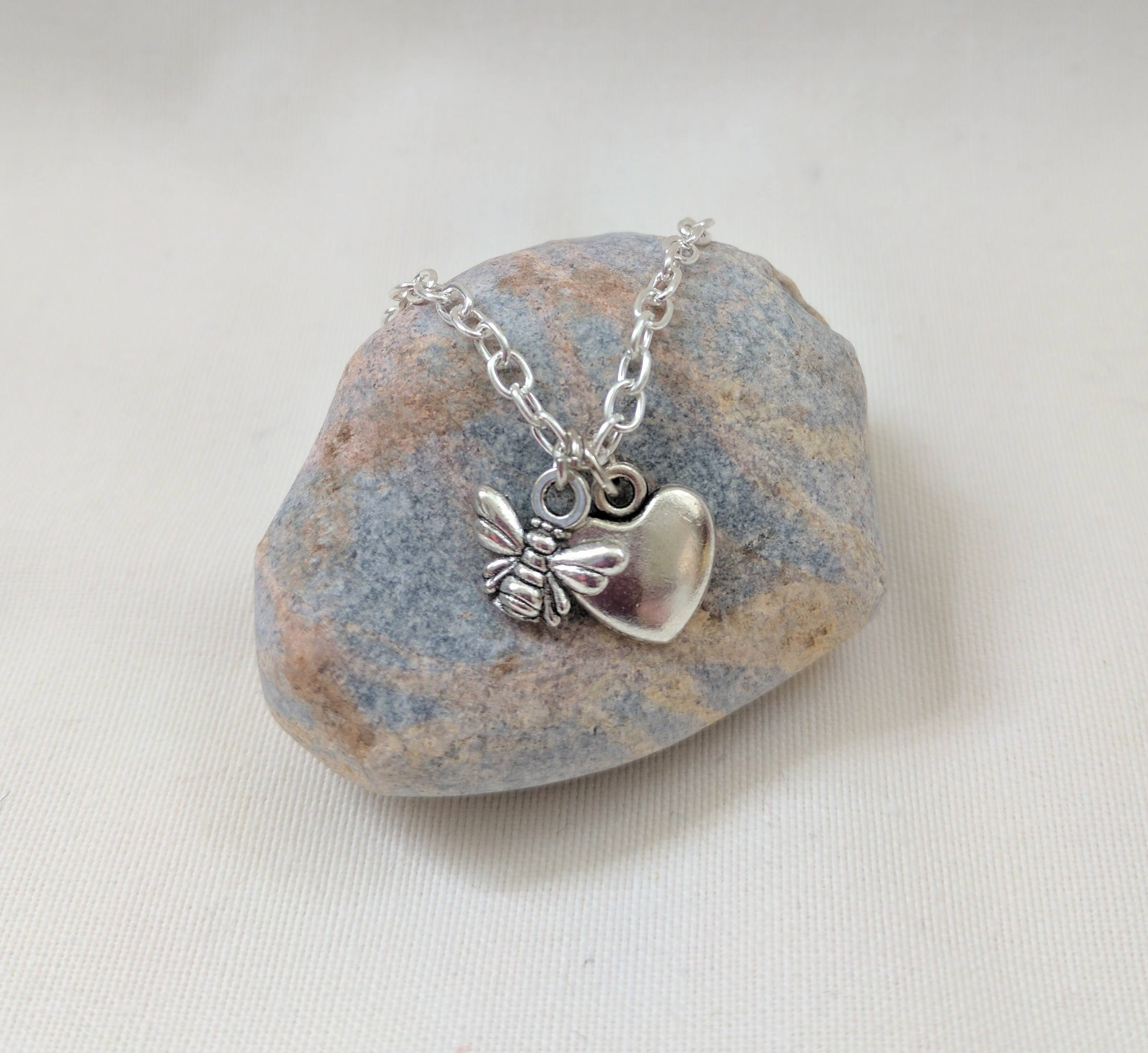 Charm Necklace | Bee Heart Necklace | Bee Lover | Animal Lover | Silver Charm Necklace | Busy Bee Necklace
