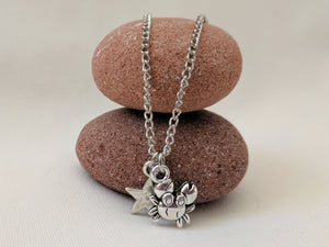 Charm Necklace | Silver crab charm Necklace | Beach Necklace | Summer Holiday Fun | Nautical ocean charm pendant necklace