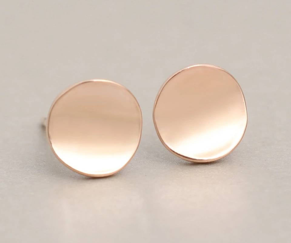 Simple Stud Earrings | Disk Earrings | Silver Gold Rose gold circle Studs | Silver Studs | Circle Studs