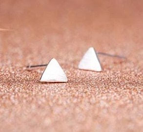 Tiny Triangle studs | Silver triangle studs | Tiny Silver Earrings  | Geometric