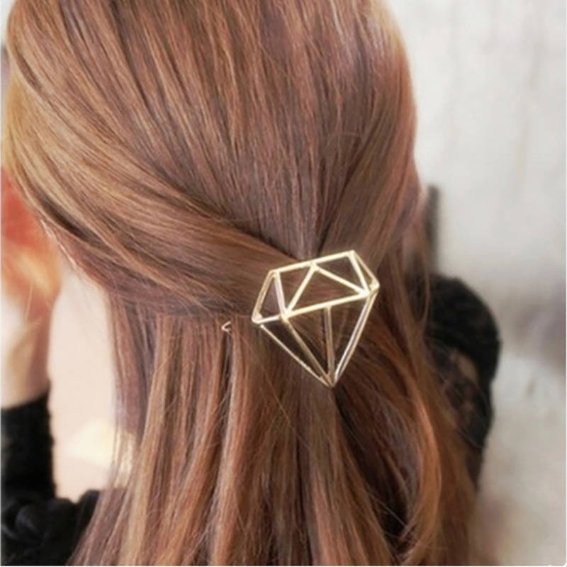 Diamond hair clip | Gold or silver Metal Clip | Minimalist Hair Clip | Metal Hair Accessory | Geometric Hair Clip | Hair Barrette