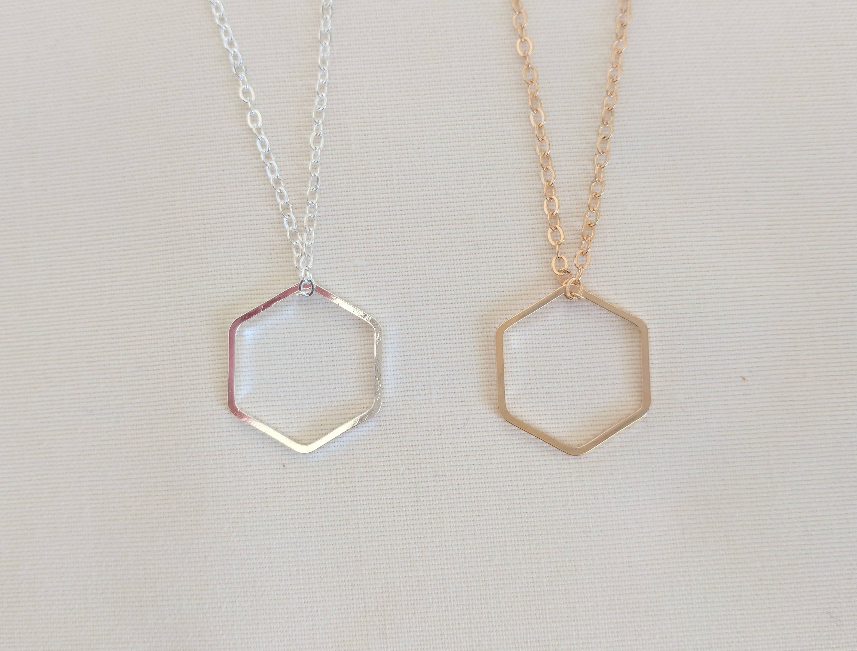 Hexagon Necklace | Geometric Necklace | Layering Necklace | Minimalist Necklace