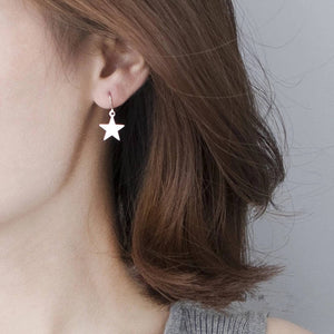 Star Earrings | Silver or gold star drop earrings