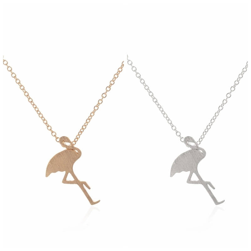 Flamingo Necklace | Silver and Gold Flamingo | Flamingo Jewelry |  Animal Jewelry