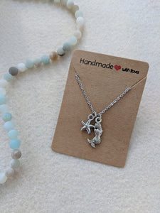 Mermaid and star fish beach charm necklace