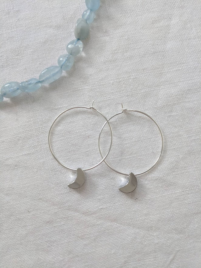 Moon earrings | Silver Moon hoop Earrings | Hoop moon earrings | Minimalist Boho Jewelry