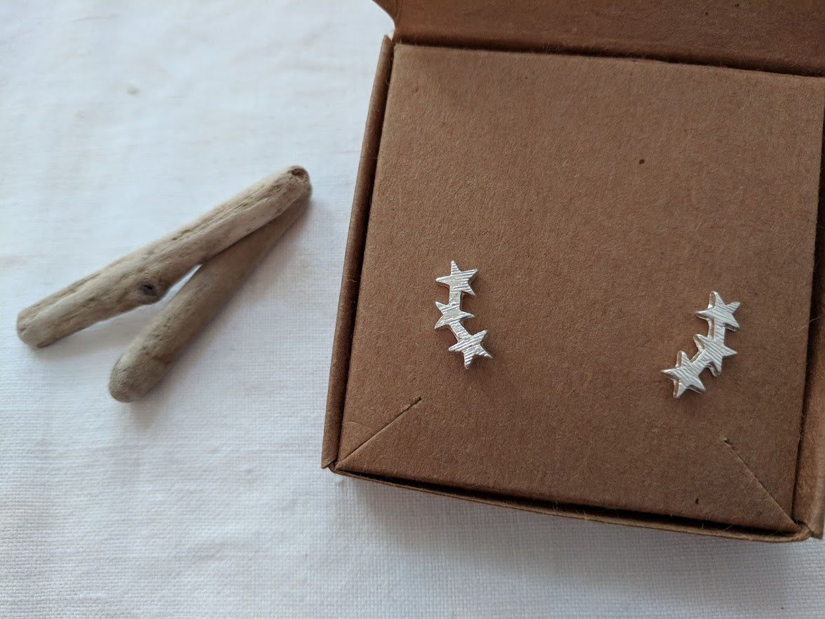 Star climber stud earrings in Silver, Gold or Rose Gold
