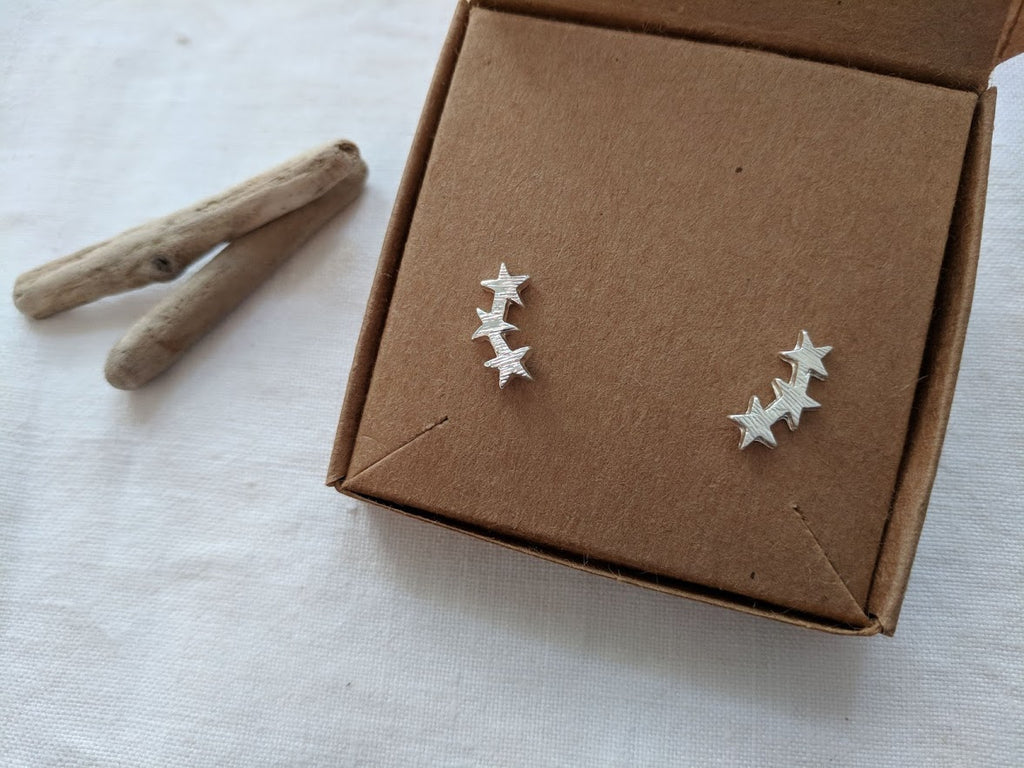 Star climber studs | climbers earrings | Silver, Gold or Rose Gold Climbing studs