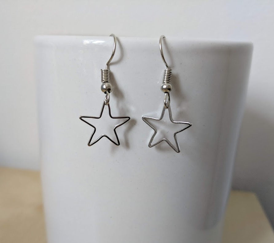 Star Earrings | Silver star charm drop dangle earrings