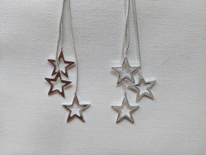 Star Earrings | Silver multi star drop dangle earrings