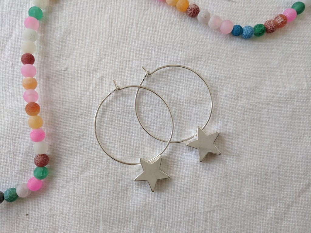 star hoop earrings star hoops silver star earrings star jewelry unique silver jewellery gift idea