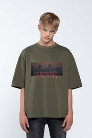 SKYLINE GREEN- BOX TEE