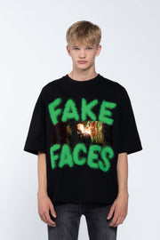FAKE FACES BLACK - BOX TEE