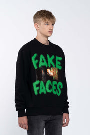 FAKE FACES BLACK - SWEATSHIRT