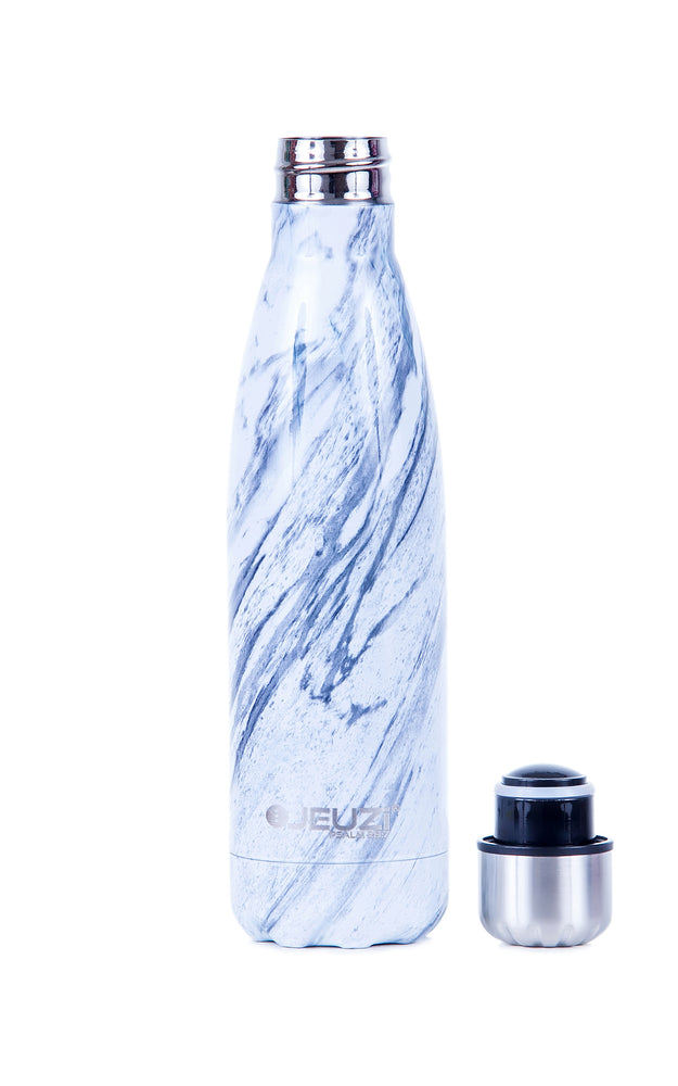 RUTH white marble JEUZi Bottle comes with a refined, shiny marble-like finish to give you some extra style point and fashion touch. Look classic & elegant with our luxury and premium water bottle hydrate with styles and keep your drinks cold and hot for hour after hours. Find your today at JEUZi.com