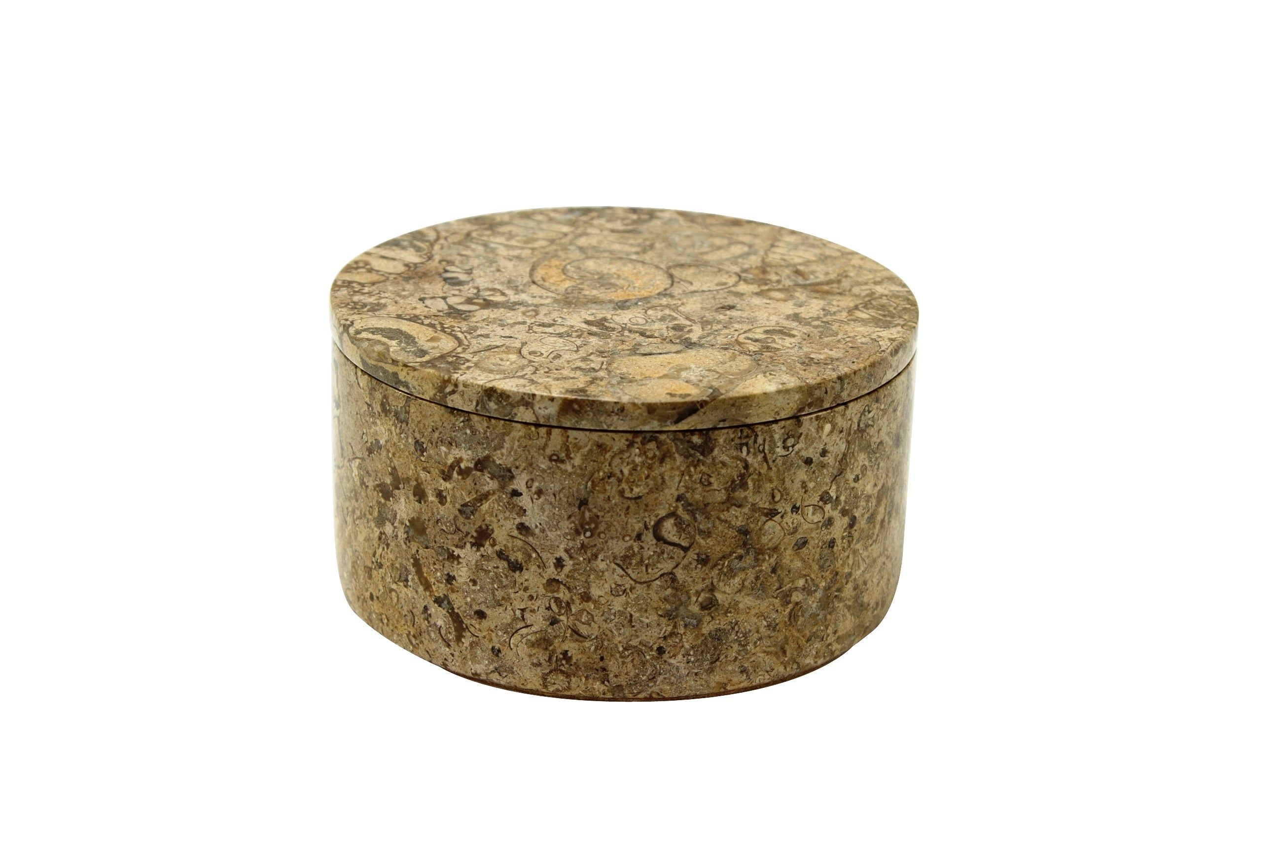 "Eirenne Collection 4"" Fossil Stone Circular Keepsake Box"