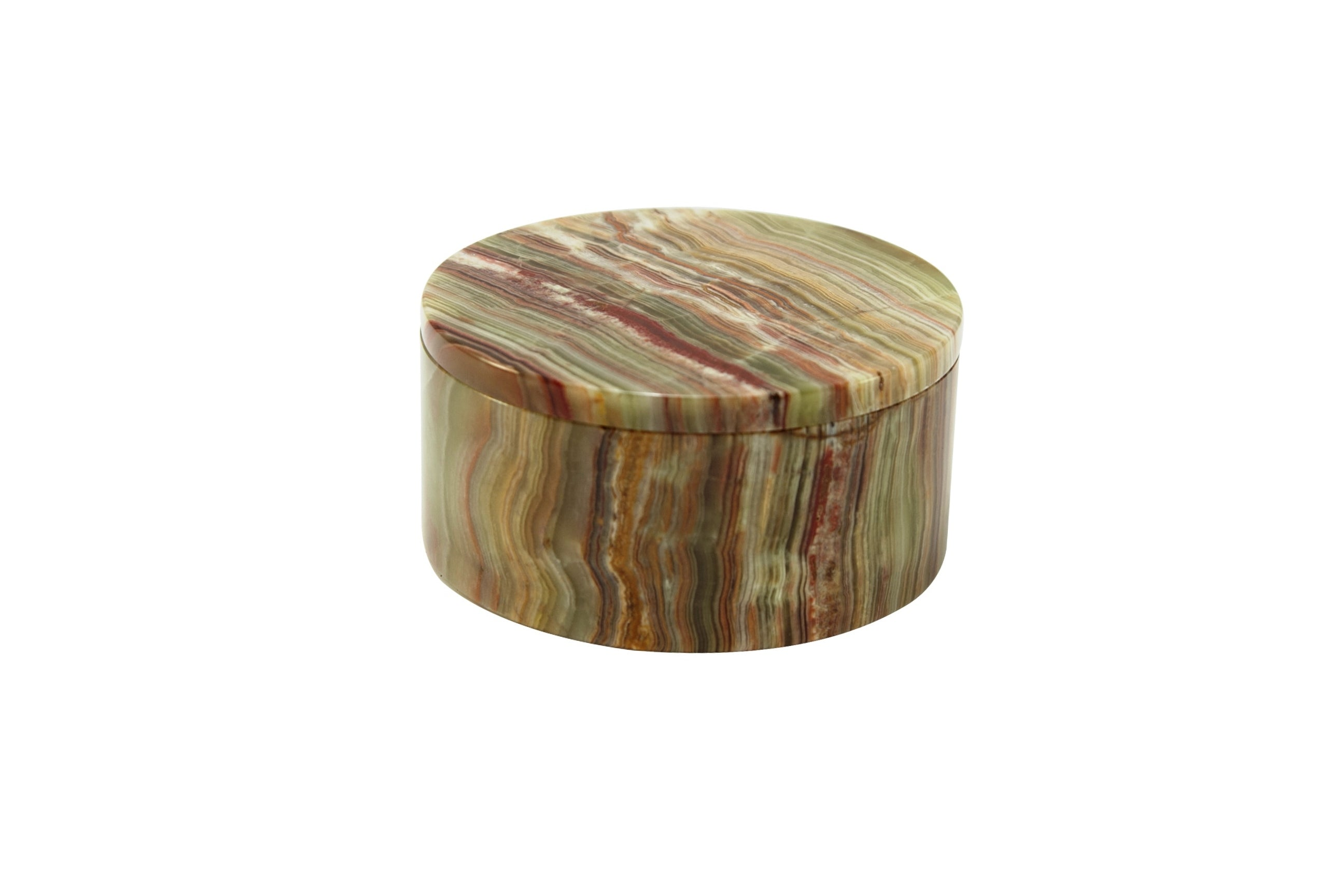 "Eirenne Collection 5"" Whirl Green Onyx Circular Keepsake Box"