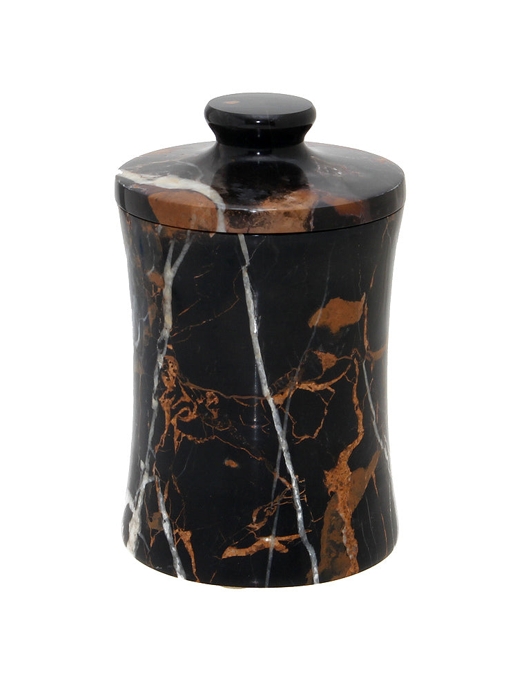 "Vinca Collection 3"" x 5"" Black & Gold Marble Canister"
