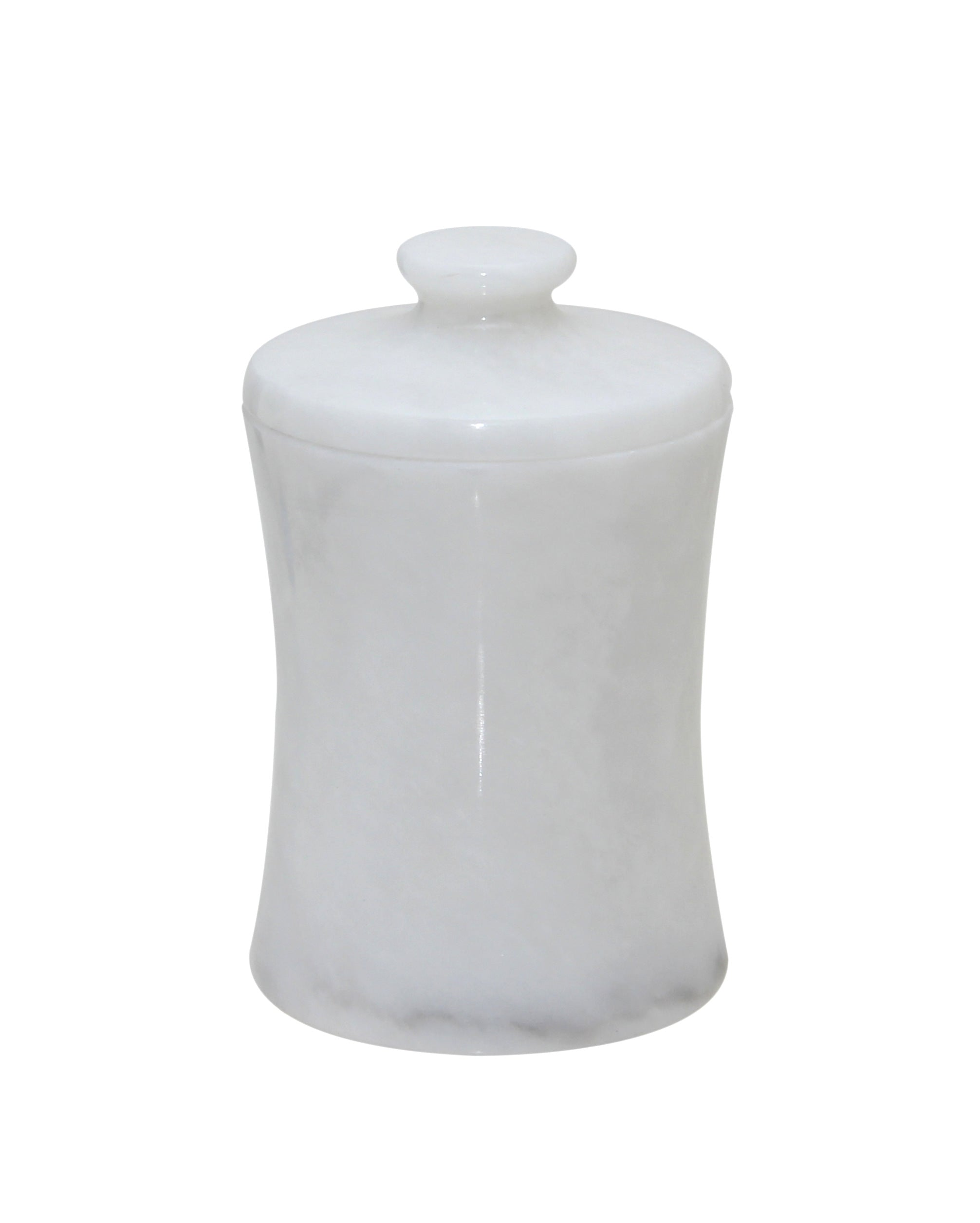 "Vinca Collection 3"" x 5"" Pearl White Marble Canister"