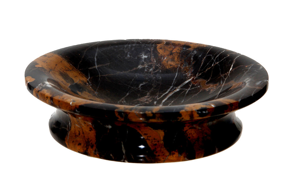 Vinca Collection Black & Gold Marble Round Soap Dish