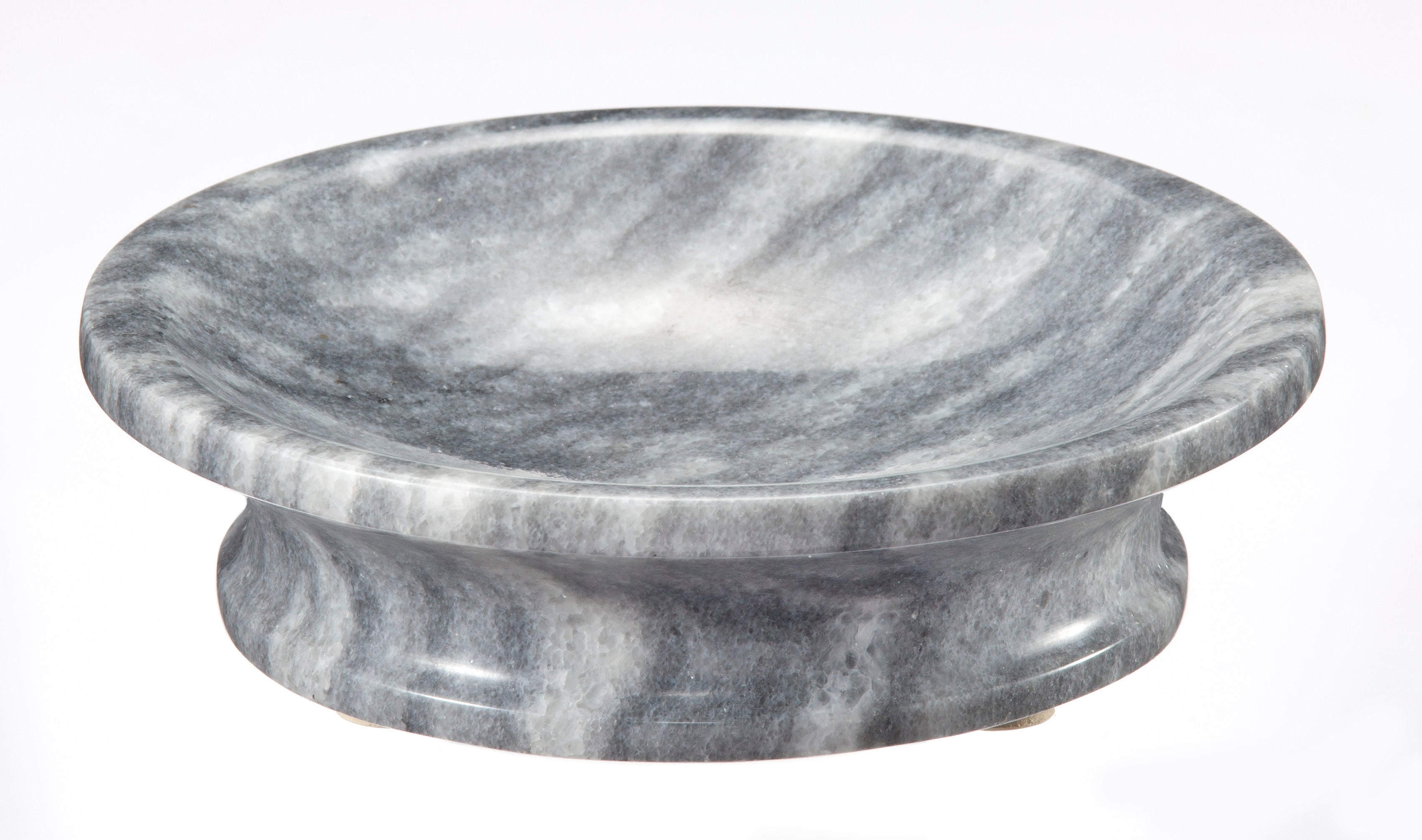 Vinca Collection Cloud Gray Marble Round Soap Dish