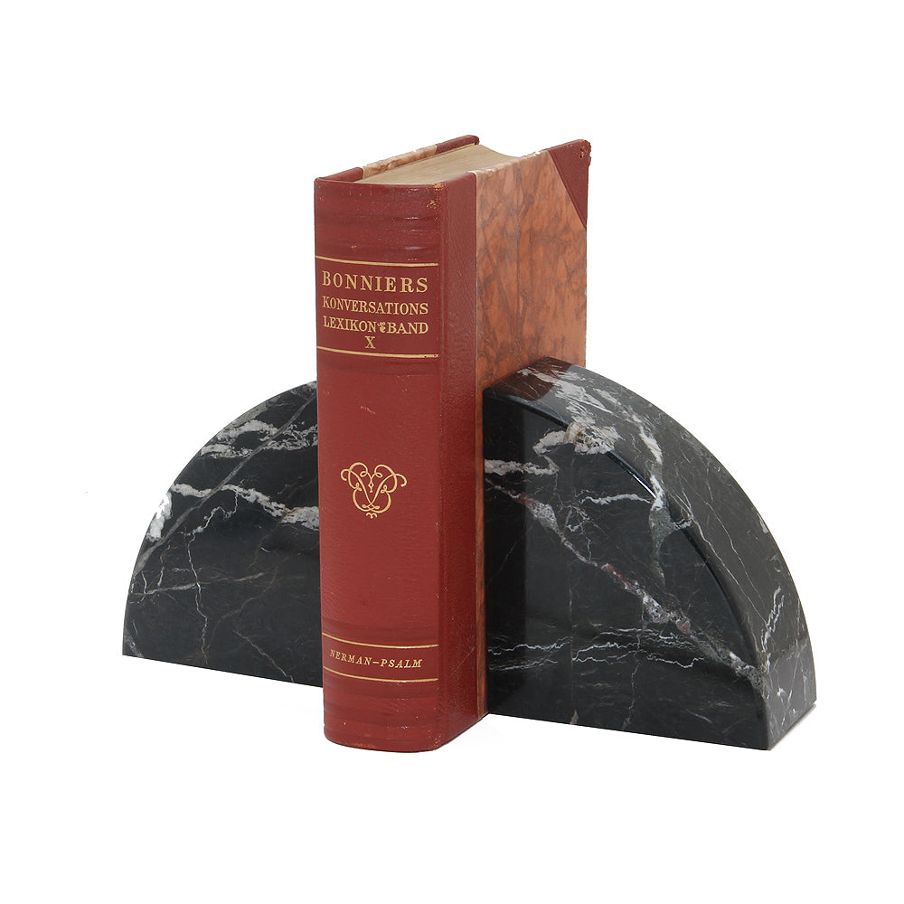 Cerasus Collection Black Zebra Marble Bookends