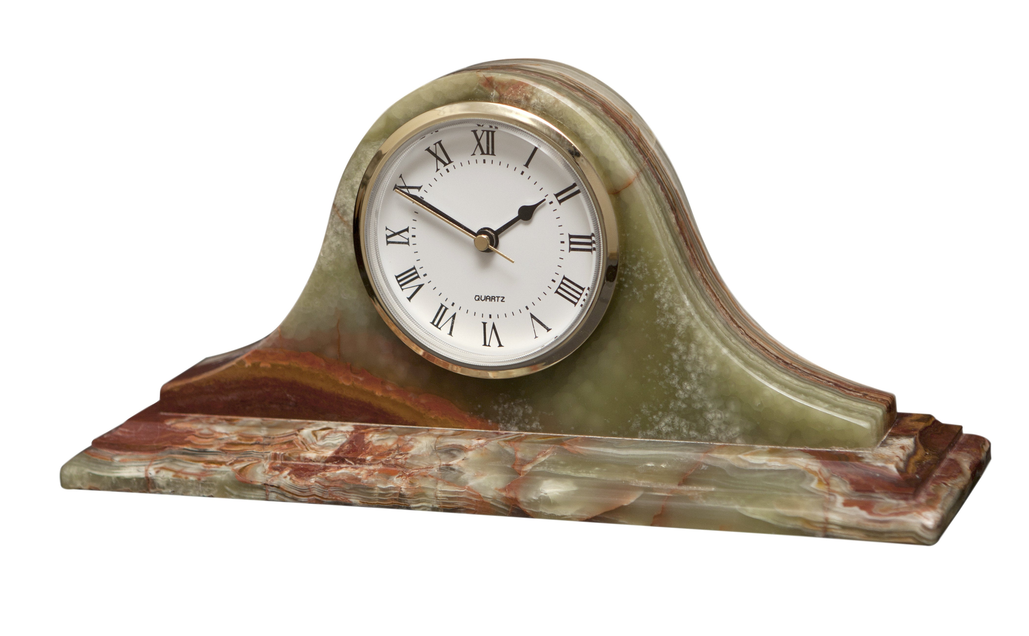 Saturn Collection Whirl Green Onyx Mantle Clock