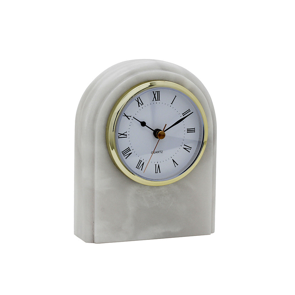 Polaris Collection Pearl White Marble Desk Clock