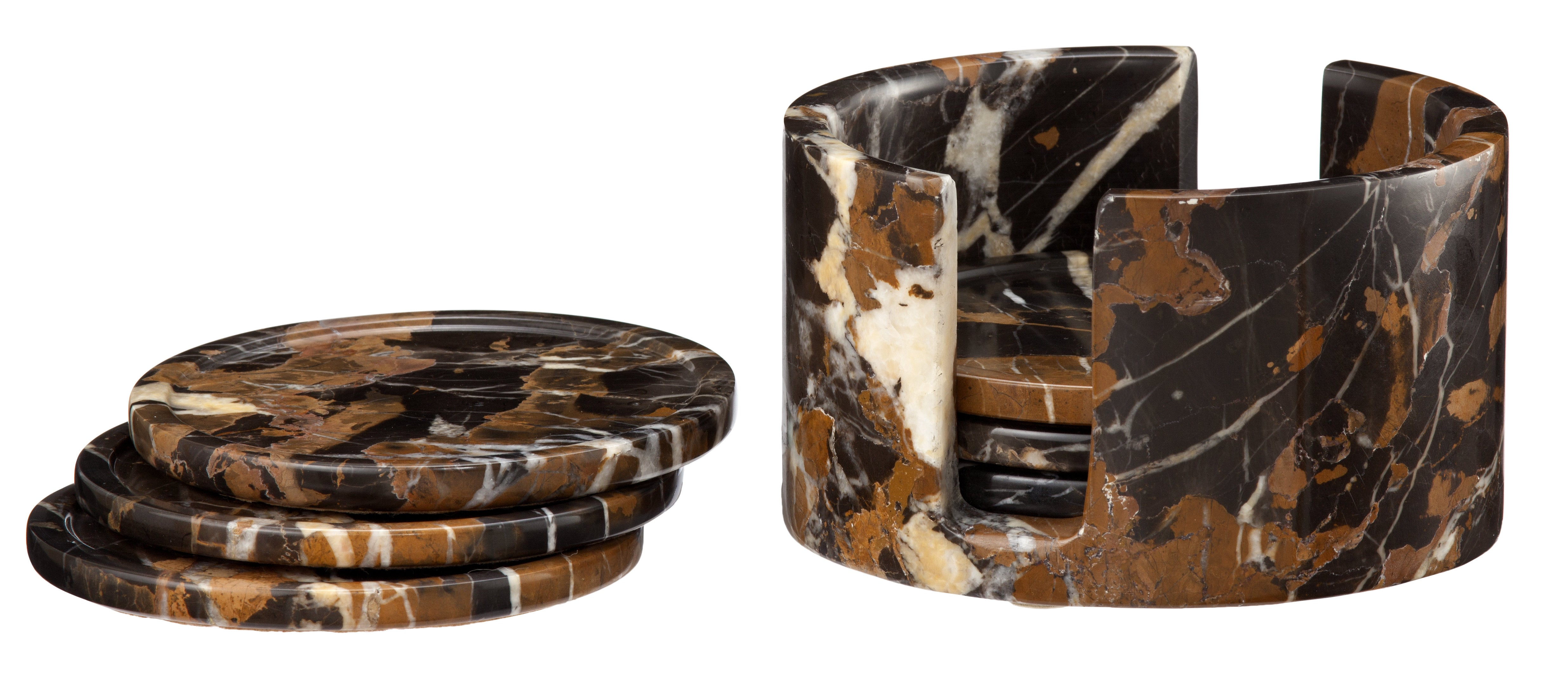 Dionysus Collection Black & Gold Marble 6 Piece Coaster Set