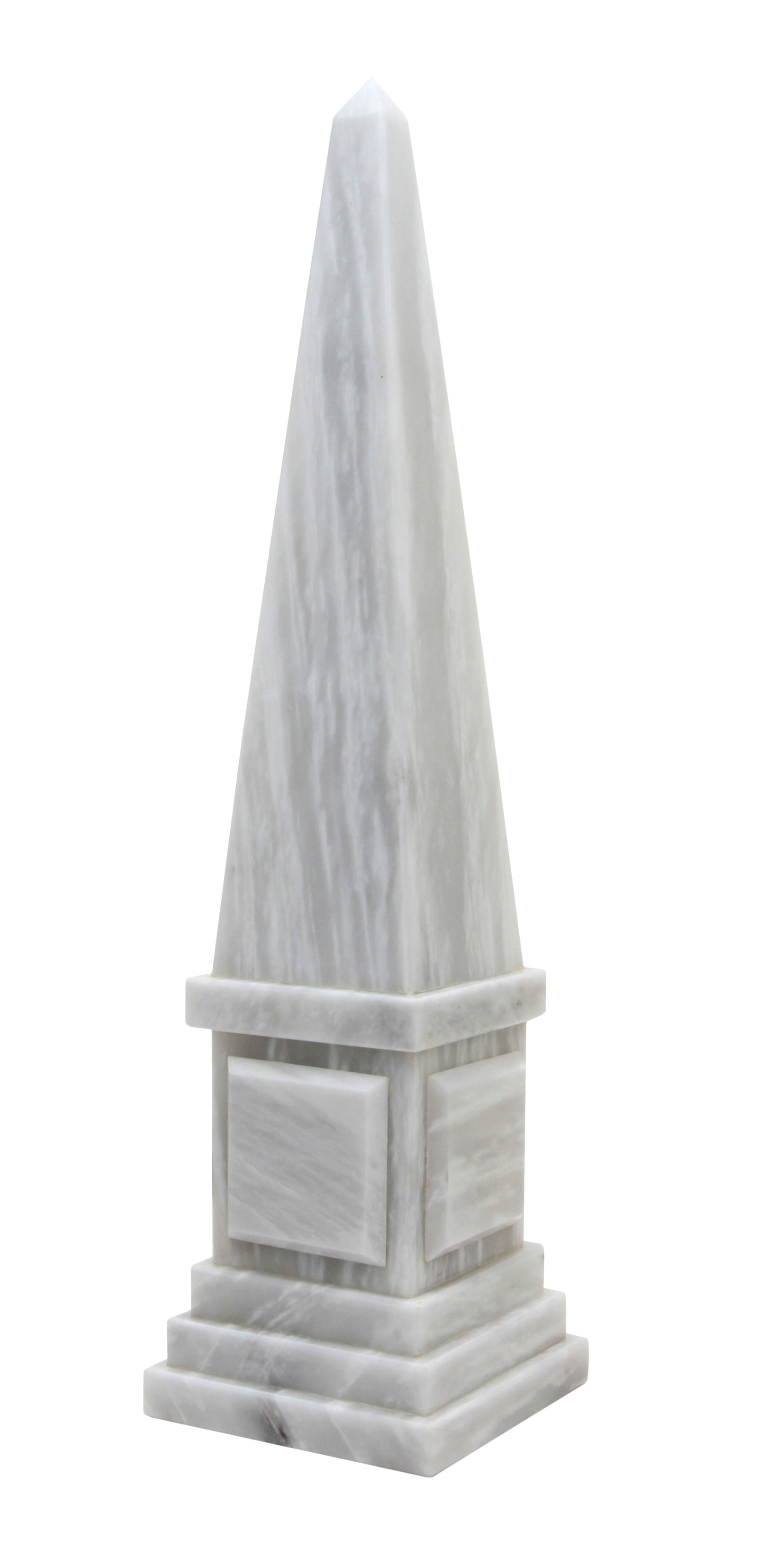 "Atlas Collection 20"" Pearl White Marble Obelisk"