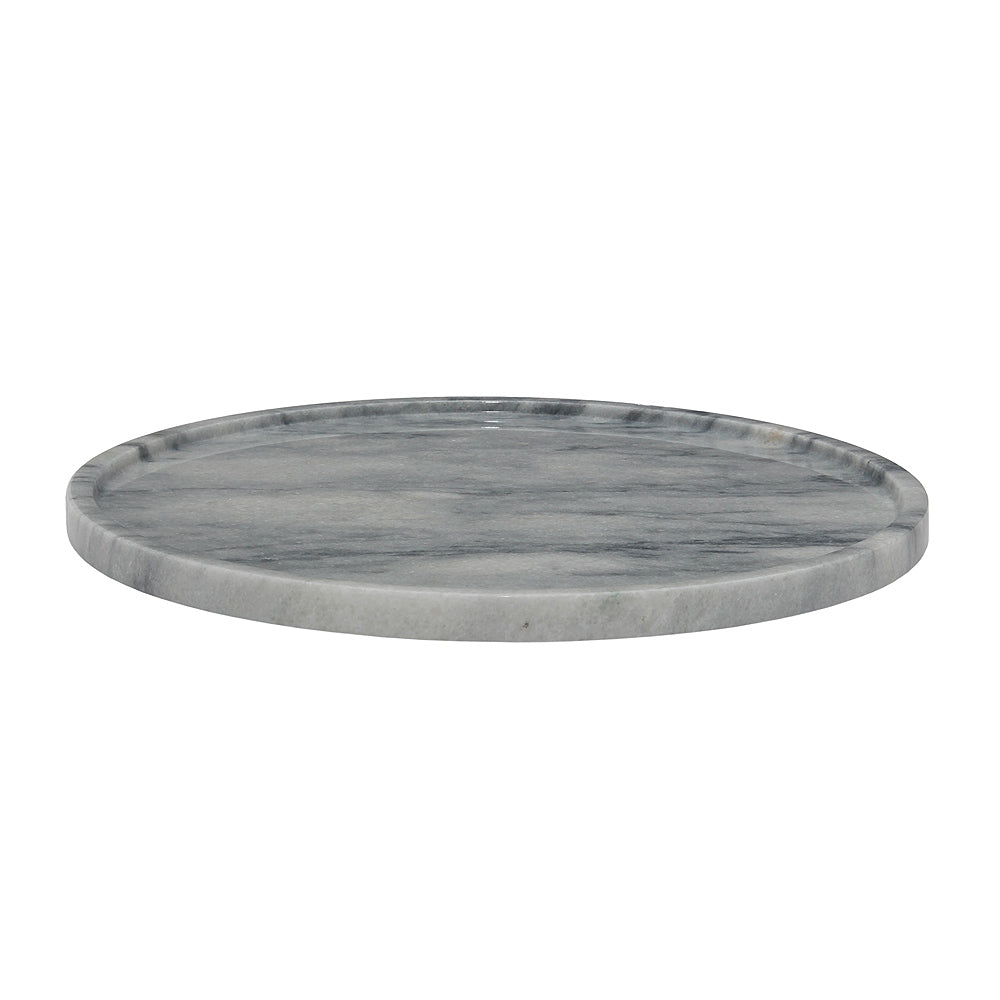 "16"" Cloud Gray Marble Round Tray"