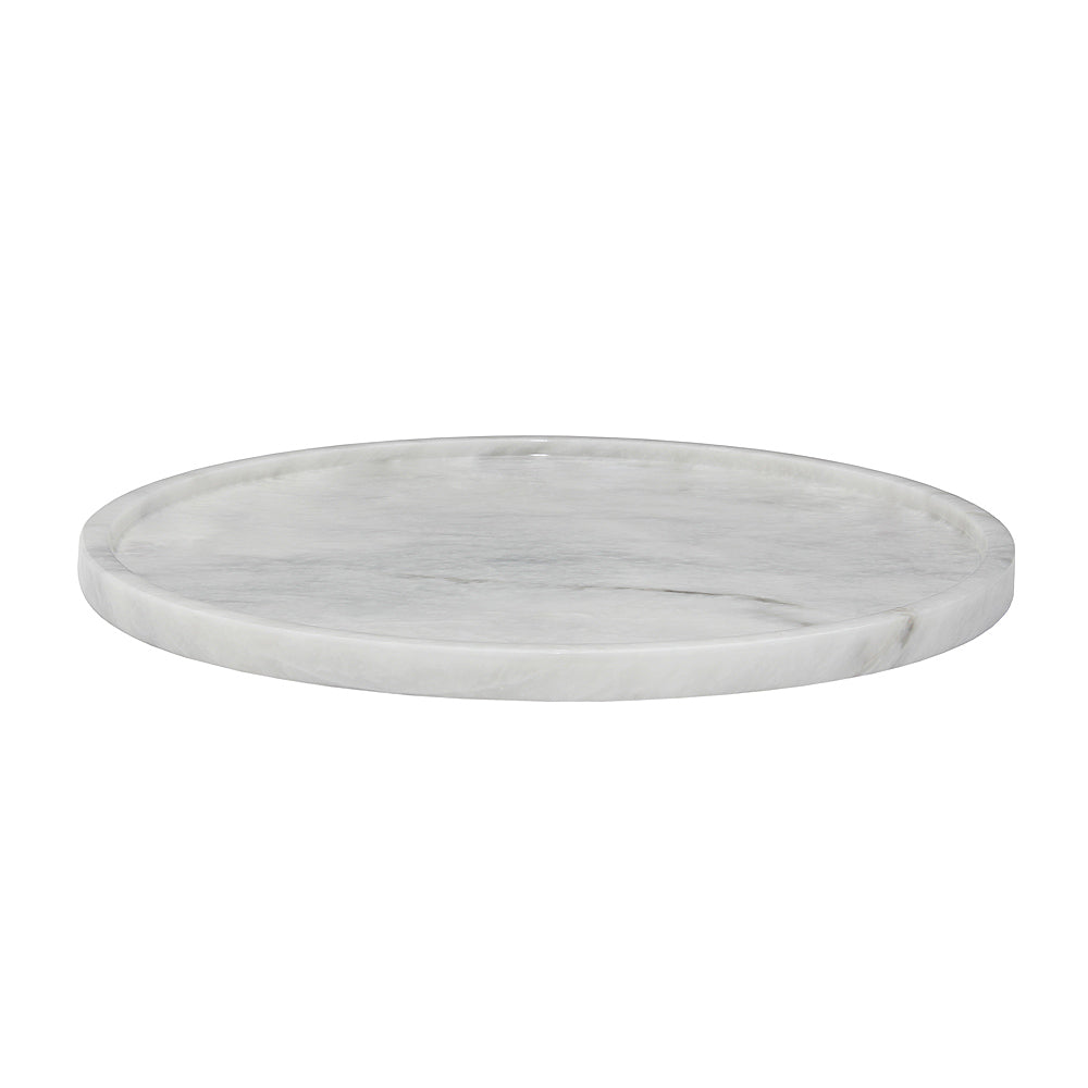"16"" Pearl White Marble Round Tray"