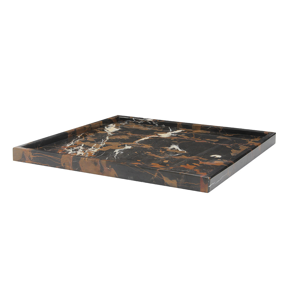 "Ambrosia Collection 16"" Black & Gold Marble Square Tray"