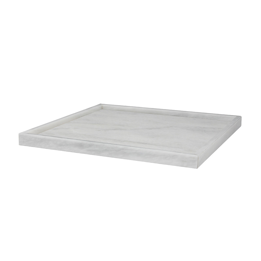 "Ambrosia Collection 16"" Pearl White Marble Square Tray"