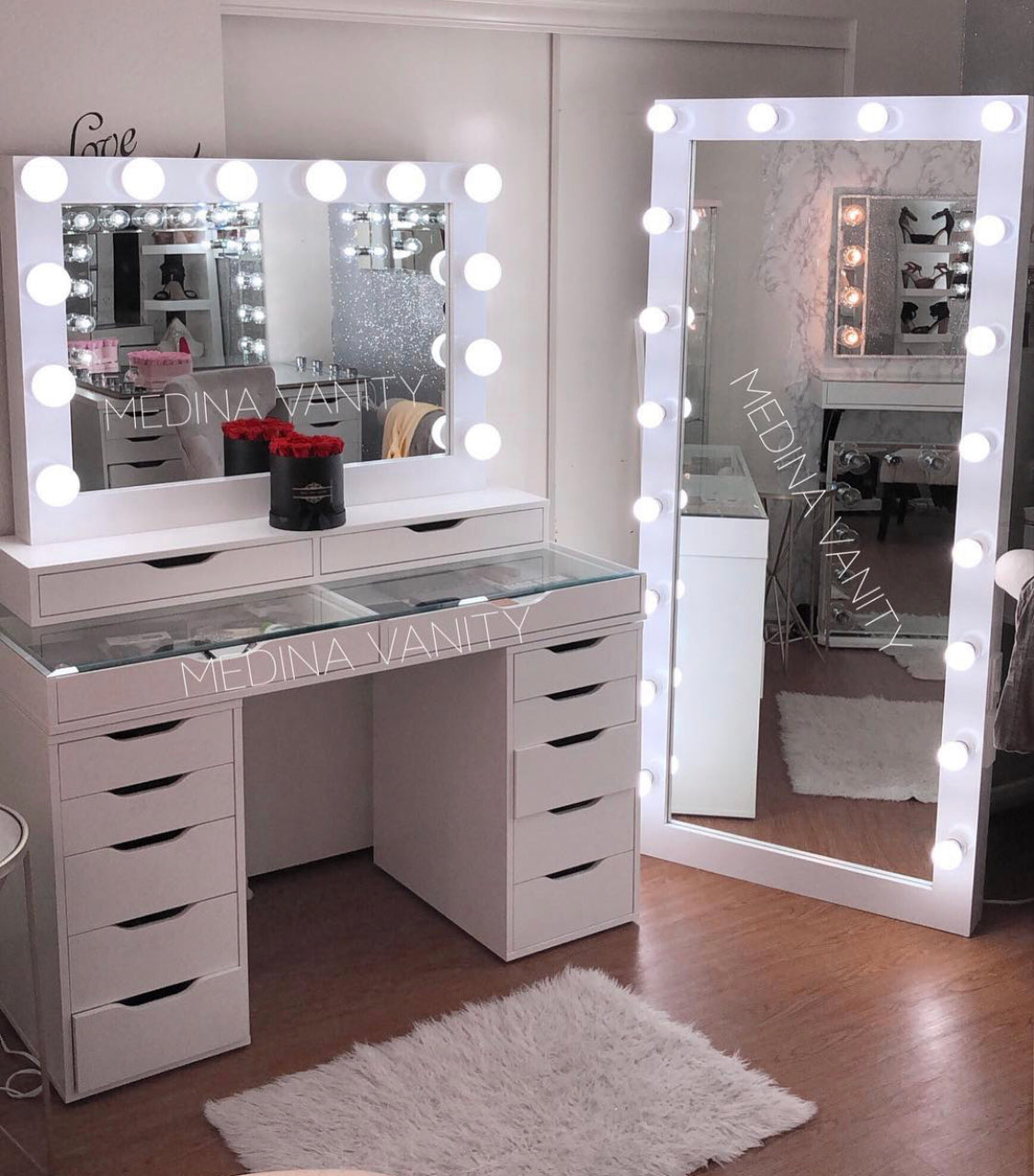 Hollywood Dream Full Length Vanity Mirror Medina Vanity