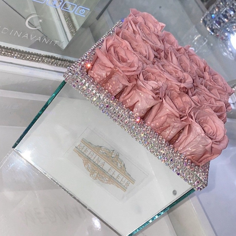 Mirrored square Rose arrangement + faux diamonds