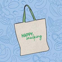 "Load image into Gallery viewer, Tosi ""Happy Snacking"" Canvas Tote"